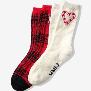 PINK Fleece Socks Gift Set for Her ~ Red and White
